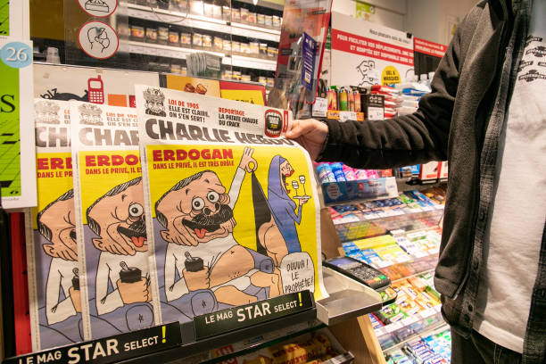 FRA: French Satirical Weekly Charlie Hebdo's Edition Displays A Cover With A Satirical Drawing Representing Turkish President Tayyip Erdogan