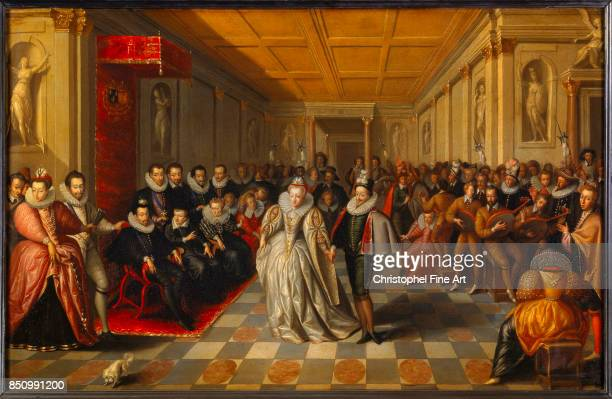 French School Ball in the Court of King Henry III of France Wedding of Anne Duke of Joyeuse with Marguerite of Lorraine Vaudemont September 24th 1581...