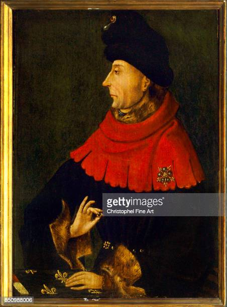 French School Portrait of John the Fearless Duke of Burgundy Oil on wood panel 021 x 029 m Paris musee du Louvre