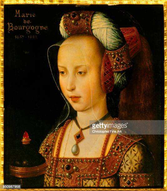 French School Portrait of Mary of Burgundy Oil on wood panel 026 x 022 m Chantilly musee Conde