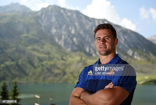 French scrum-half Rory Kockott poses during a Rugby Union World Cup 2015 training camp on July 20, 2015 in Tignes, French Alps. AFP PHOTO / LOIC...