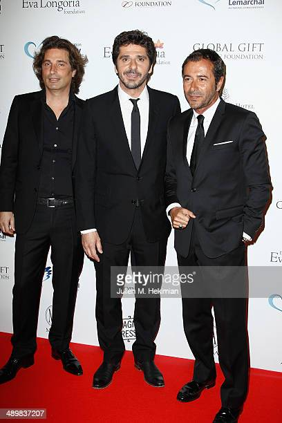 French sculptor Richard Orlinski french singer Patrick Fiori and french TV presenter Bernard Montiel attend the 'Global Gift Gala' 2014 Charity...