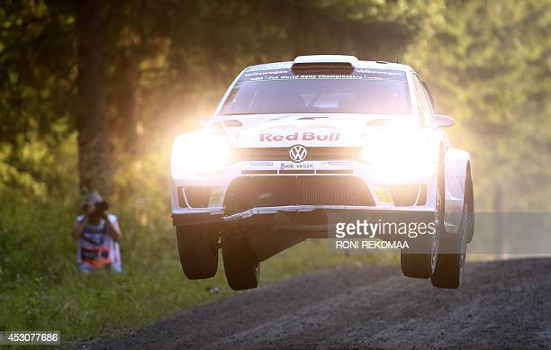 French Sebastien Ogier drives during the third day of FIA World Rally Championship WRC Neste Oil Rally Finland in Jyvaskyla central Finland on August...