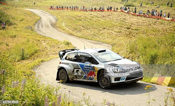 French Sebastien Ogier with Volkswagen Polo takes a corner during shakedown of FIA World Rally Championship WRC Neste Oil Rally Finland in Jyvaskyla...