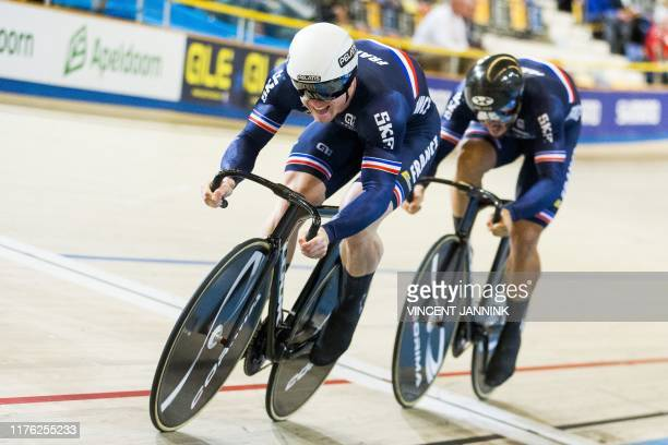 French Sebastien Vigier and Quentin Lafargue compete during the final round of the men's team sprint at the European track cycling championship in...