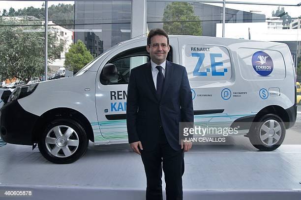 French Secreatry of State for Foreign Trade Matthias Fekl during the launching of the new electric model of Renault Kangoo Z.E. In Quito on December...