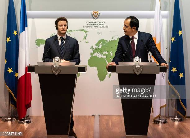 French Secretary of European Affairs Clément Beaune and Cypriot Foreign Minister Nicos Christodoulides give a joint press conference in Nicosia on...
