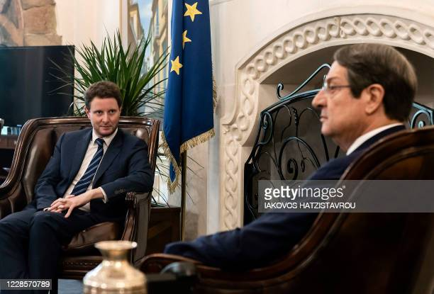 French Secretary of European Affairs Clément Beaune meets Cypriot President Nicos Anastasiades in Nicosia on September 18, 2020.