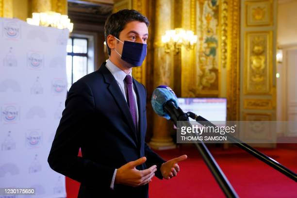 French Secretary of State and Government's spokesperson Gabriel Attal speaks as he addresses media representatives at a press conference at The...