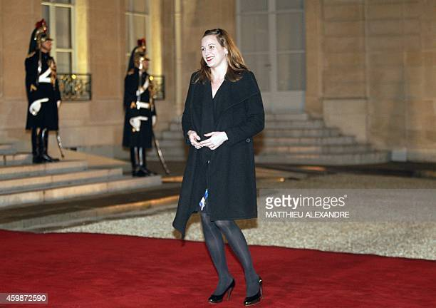 French Secretary of State for Digital Affairs Axelle Lemaire arrives for a state dinner at the Elysee presidential palace in Paris on December 2 2014...