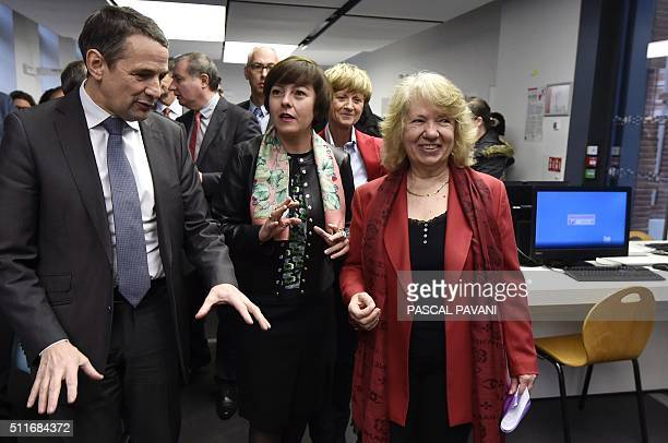 French Secretary of State for Higher Education Thierry Mandon and LanguedocRoussillonMidiPyrenees regional council Carole Delga attend the...