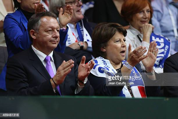 French Secretary of State for Sports Thierry Braillard and Mayor of Lille Martine Aubry attend day three of the Davis Cup tennis final between France...