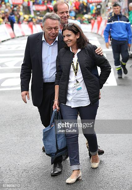 French Secretary of State for Sports Thierry Braillard and Mayor of Paris Anne Hidalgo attend the finish of stage 19 of the Tour de France 2016 a...