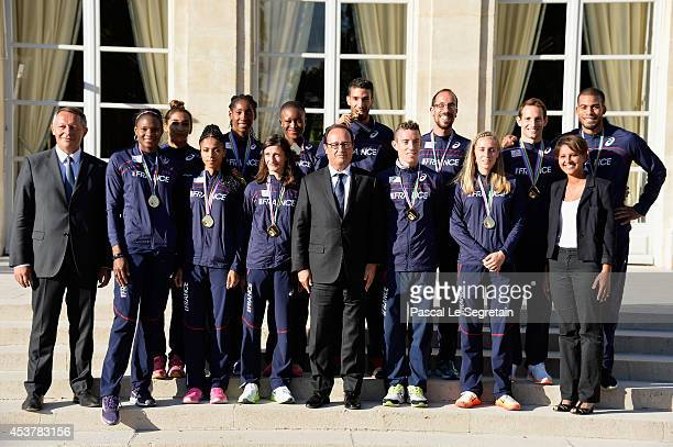 French secretary of state for sports Thierry Braillard French President Francois Hollande and French Minister for Women's Rights Cities Sports and...