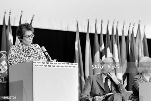 French Secretary of State Francoise Giroud delivers a speech next to French President Valery Giscard d'Estaing during the inauguration of the...