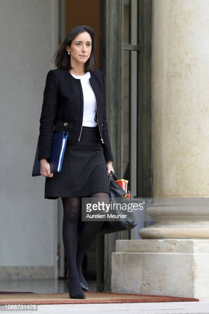 French Secretary of State to the Minister for the Ecological and Inclusive Transition Brune Poirson leaves the Elysee Palace after the weekly cabinet...
