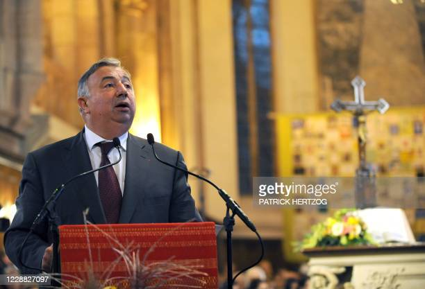 """French Senate president Gerard Larcher gives a speech during the opening ceremony of the """"Protestant en fete"""" event on October 30, 2009 at the..."""