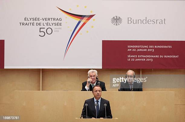 French Senate President Jean-Pierre Bel speaks during a special joint plenary session on January 22, 2013 at the Bundesrat in Berlin as part of the...