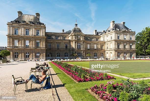 French Senato in Park of Paris - Luxembourg Gardens