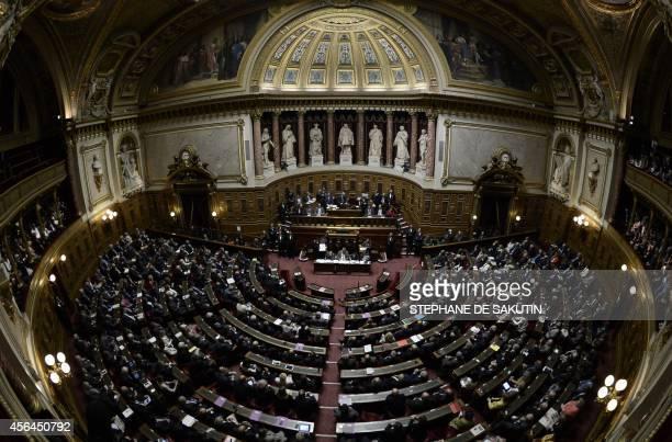 French senators take part in the vote for the Senate presidency on October 1 2014 in Paris Former Senate president Gerard Larcher should be elected...