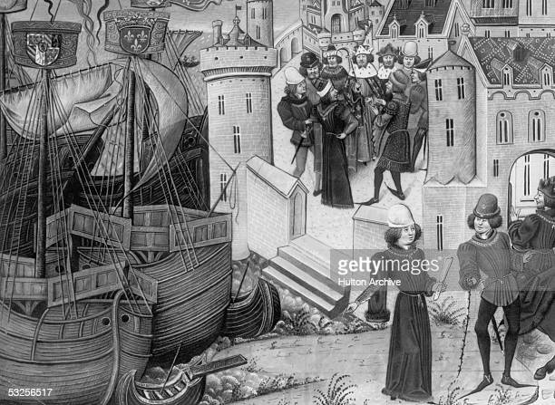 French ships at Sluys in the Netherlands where King Edward III won a naval victory against the French during the Hundred Years' War 1340 From the...