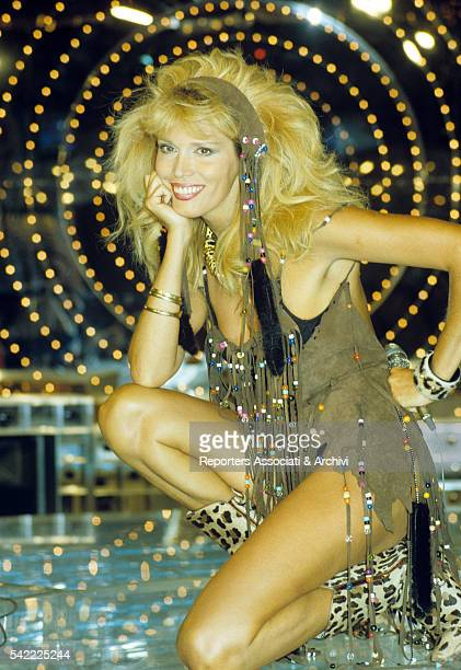 French showgirl Amanda Lear performing in a TV show. 1979