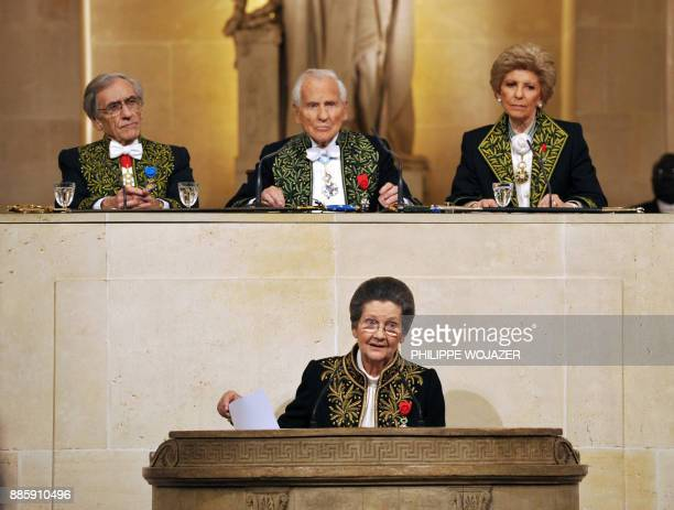 French Simone Veil an Auschwitz survivor and the first elected president of the European parliament delivers a speech as she joined today the...