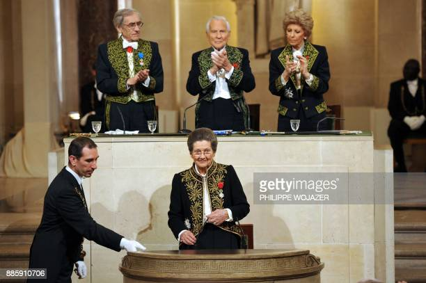 French Simone Veil an Auschwitz survivor and the first elected president of the European parliament arrives for a speech as she joined today the...