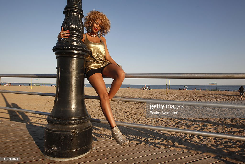 French Singer Adjana during the recording of the video in Coney island on June 1, 2012 in New York City. The single 'Good Times I'm In Love' by disco producer Marc Cerrone, featuring Adjana is released on Jun 21. Cerrone's new album, 'Addict', will be released in September, 2012.