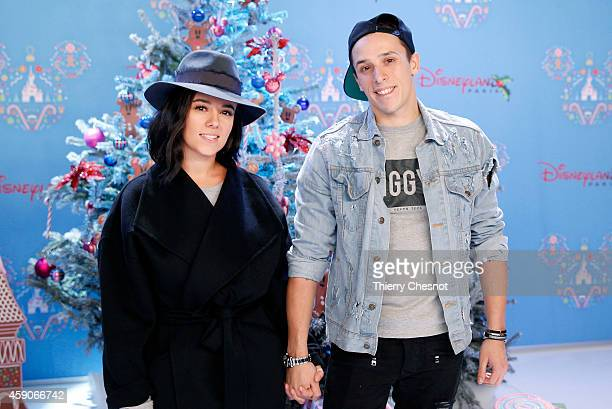 French singer Alizee and French dancer Gregoire attend the Christmas season launch at Disneyland Paris on November 15 2014 in Paris France