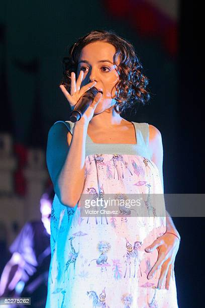 French singer Alizee performs live on stage on June 23 2008 at Complejo Cultural Siglo XXI in Puebla Mexico