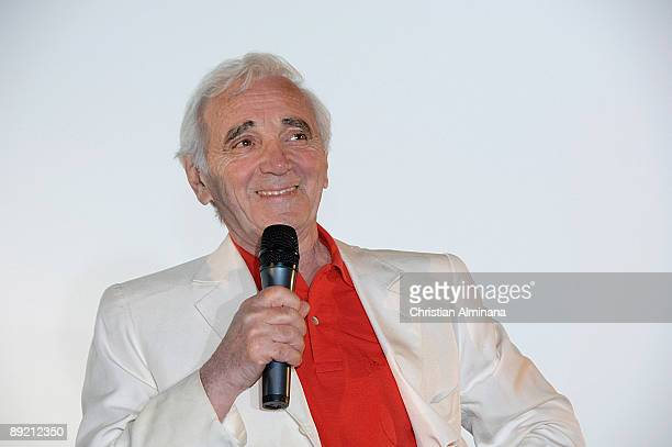 French singer and actor Charles Aznavour attends the Disney/Pixar's UP Premiere at Pathe Plan de Campagne on July 23 2009 in Marseille France