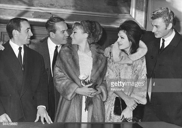 French singer and actor Johnny Hallyday attends the wedding of actress Gisele Sandre and scriptwriter Richard Balducci at the Town Hall of the 16th...
