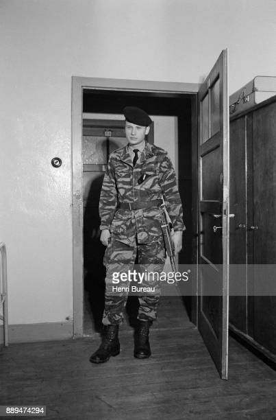 French singer and actor Johnny Hallyday during his military service in Offenburg He is sergeant in the 43rd Marine Infantry