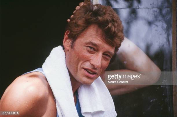 French Singer and Actor Johnny Hallyday on holiday in Creuse, 01st August 1985