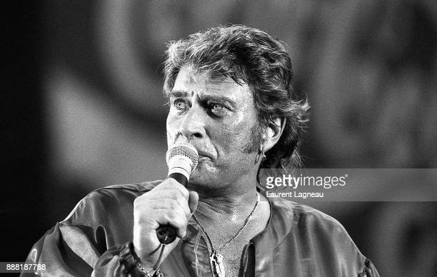 French singer and actor Johnny Hallyday on stage at Parc des Princes stadium