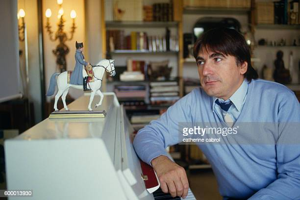 French Singer and Actor Serge Lama at Home