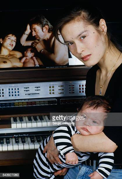French singer and actress Bambou with her son Lulu whose father is singer Serge Gainsbourg