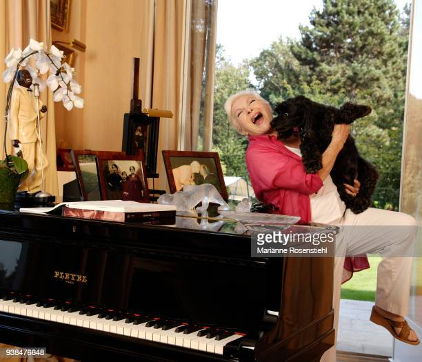 French singer and actress Line Renaud at home, in La Jonchère, at Rueil-Malmaison, France, 26th August 2017