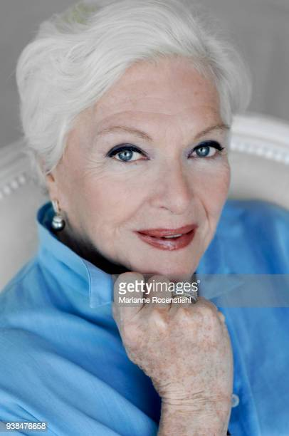 French singer and actress Line Renaud at home in La Jonchère at RueilMalmaison France 26th August 2017