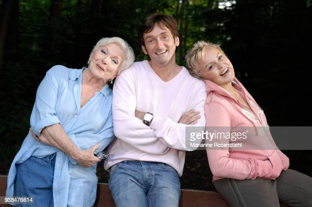 French singer and actress Line Renaud at home with Pierre Palmade and Muriel Robin in La Jonchère at RueilMalmaison France 26th August 2017