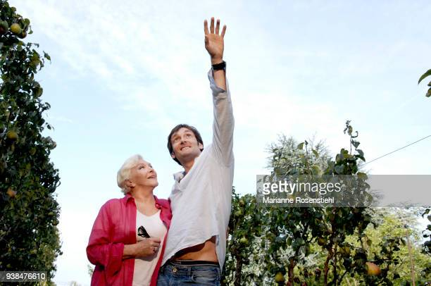 French singer and actress Line Renaud at home with Pierre Palmade in La Jonchère at RueilMalmaison France 26th August 2017
