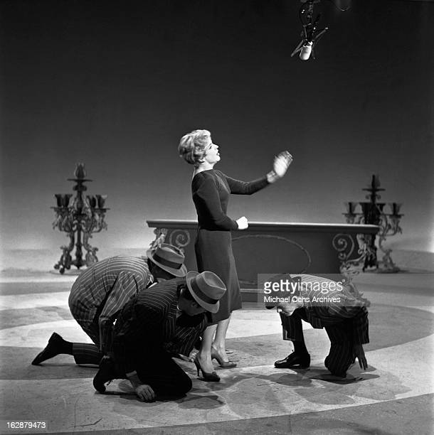 French singer and actress Line Renaud performs on The Ed Sullivan Show on October 12 1958 in New York City New York