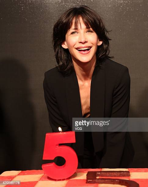 French singer and actress Sophie Marceau attends MEI.COM Website activity on April 21, 2015 in Shanghai, China.