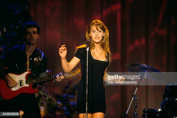 French singer and actress Vanessa Paradis on the set of television show Avis de Recherche