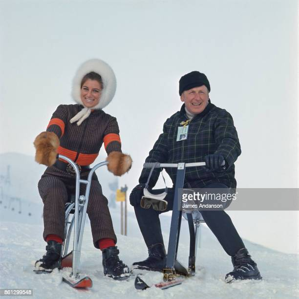 French singer and comedian Bourvil with French singer Sheila in CranssurSierre Switzerland 3d January 1969
