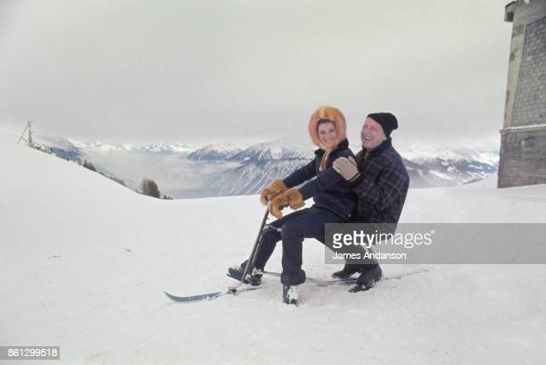 French singer and comedian Bourvil with French singer Sheila in CranssurSierre Switzerland 28th December 1967