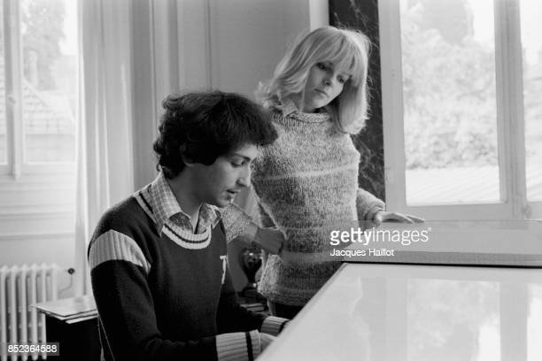 French singer and composer Michel Berger and singer France Gall at home