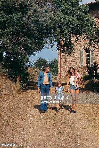 French singer and composer Serge Gainsbourg Kate Barry holding her mother's hands the British singer and actress Jane Birkin who holds in her arms...