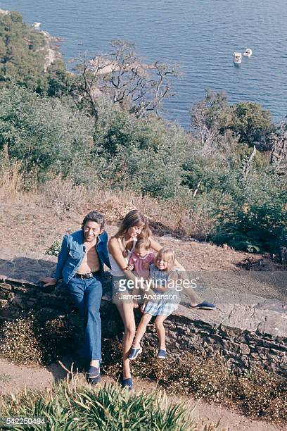 French singer and composer Serge Gainsbourg with his family British singer and actress Jane Birkin her daughter Kate Barry and the couple's daughter...